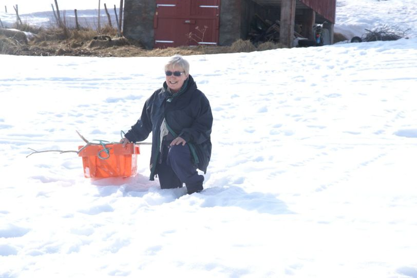 Råtten snø og vanskelig føre.             Foto: R.T. Enoksen