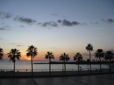 Amadoresstranden i solnedgang